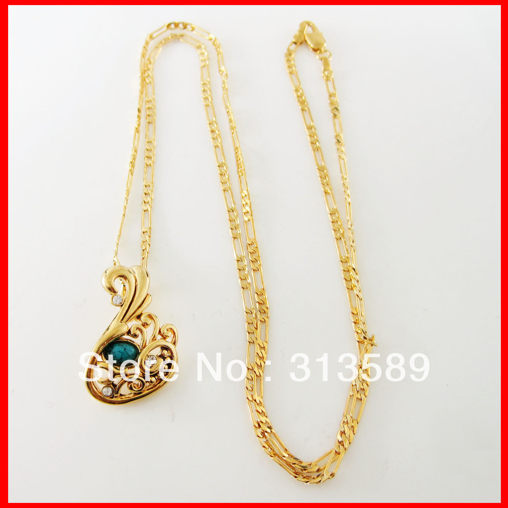 """Min order 10$ /Free Shipping/18K YELLOW GOLD OVERLAY FILLED 24"""" NECKLACE& SWAN TURQUOISE PENDANT/Great Gift/Great Money Maker(China (Mainland))"""