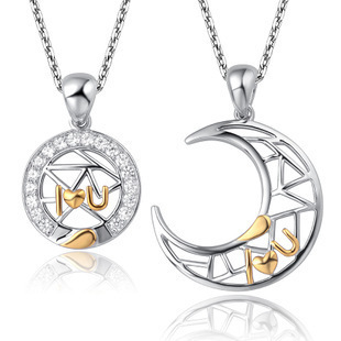 AAA 100% Silver 925 Necklace Moon Represents My heart Couple Necklaces Necklaces & Pendants Fine Jewelry FREE SHIPPING
