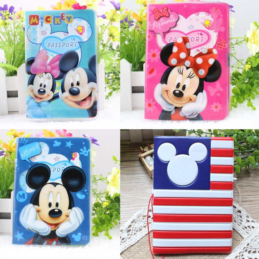 Cartoon Mickey And Minny Credit Card Holder,PVC Leather ID Card Bag,Business Porte Carte Simple,Travel Passport Cover 14*9.6CM(China (Mainland))