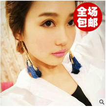 ED415 2015 new fashion National Wind retro exaggerated three wild section cotton long tassel earrings Jewelry Wholesalers(China (Mainland))