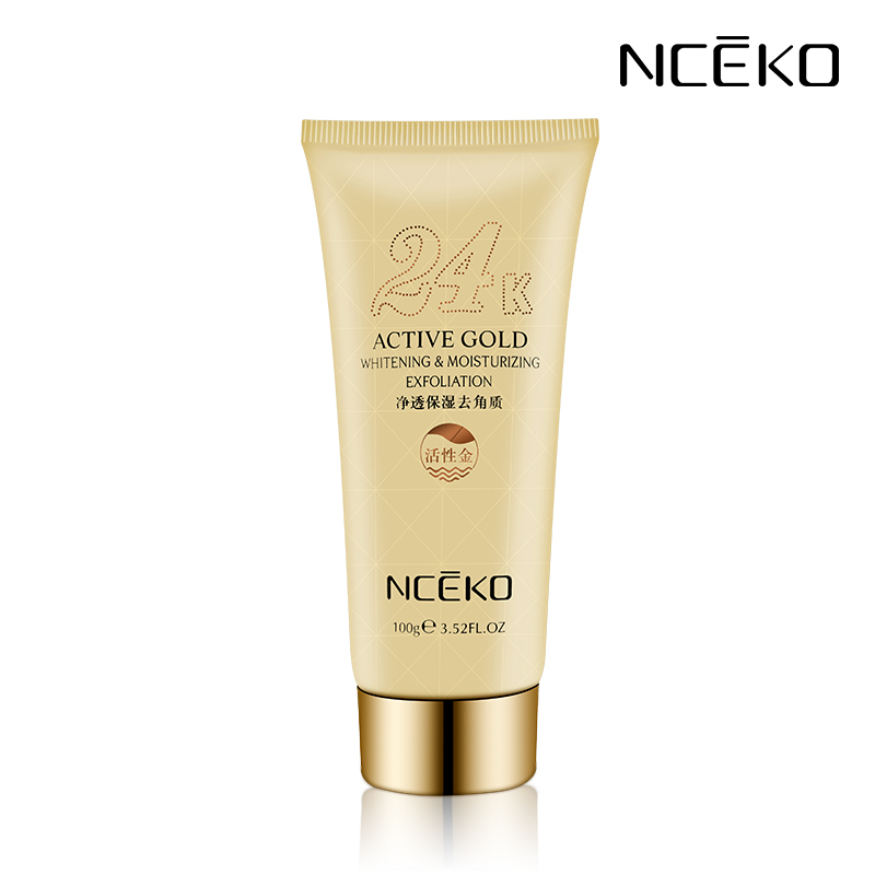 24K Active Gold Whitening Moisturizing Exfoliation Facial Exfoliating Face Scrub Peeling Gel Anti Aging Acne Control 100g B6622