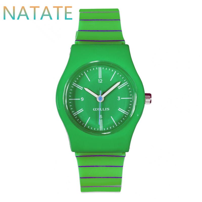 NATATE Quartz Women Willis Brand Waterproof Green Stripe Mini Watches Round Dial Analog Resins Wrist Plastic Watch Band 0940(China (Mainland))