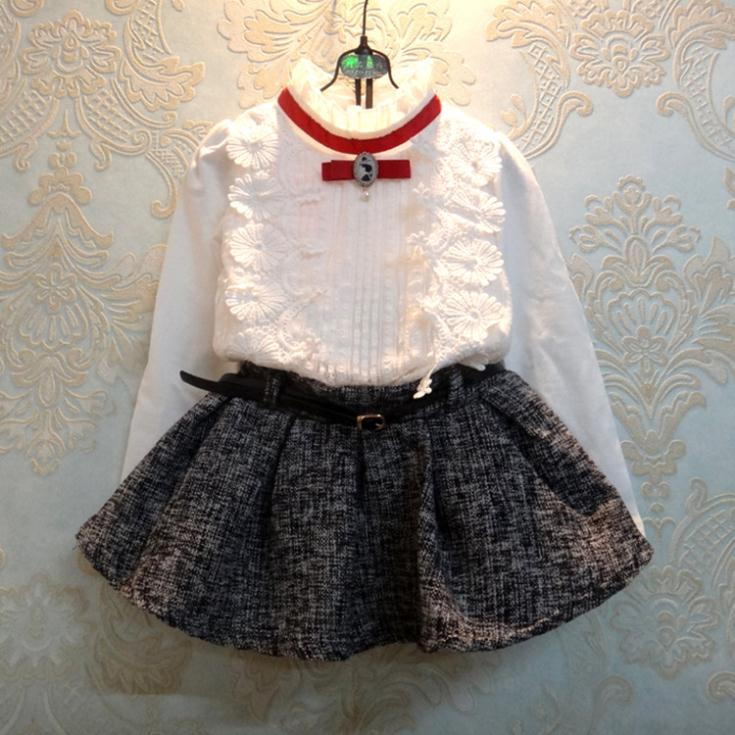New arrival for 2015 spring princess style thick girls clothes white shirt+skirt 2pcs/set girls outfits free shipping GS0012(China (Mainland))