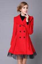 Winter Coat Women Wool Overcoat Casual Lapel Jackets 2015 Autumn Double-breasted Wool Skirt Dress Coats