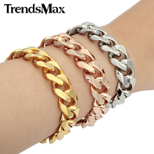 Buy Trendsmax 14MM Wide Gold-color Stainless Steel Bracelet Cut Curb Cuban Link Fashion Mens Chain Jewelry KBM25 for $6.99 in AliExpress store