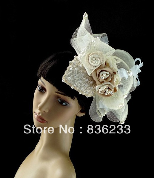 Stylish Distinctive Champagne Flower Beaded Bridal Veil Wedding Headwear Hats(China (Mainland))