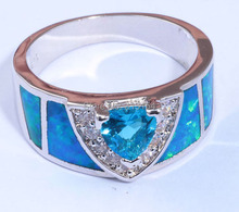 Best Gift Noble Wholesale Retail Jewelry Blue Fire Opal Blue Topaz Cubic Zirconia Silver Filled Ring