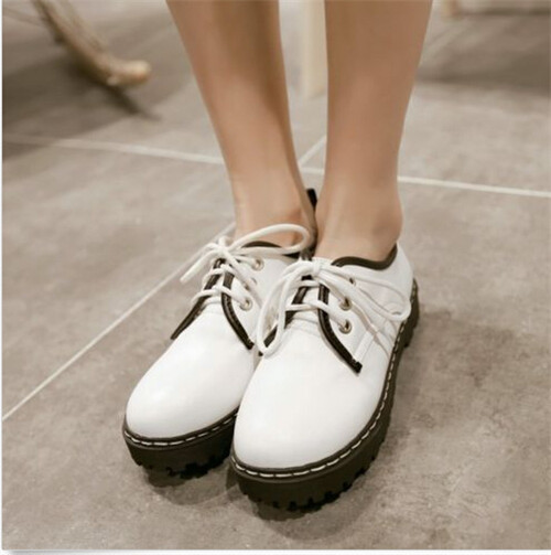 Punk 2015 Classic Womens Round Toe Flats Oxford Creepers Lace Casual Girls College Walking Shoes