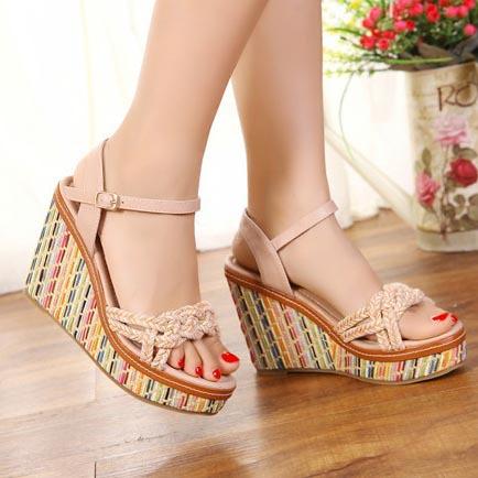 New 2015 Fashion Bohemia Platform Wedges Sandals Open Toe Ankle Strap Gladiator Sandals Women Ladies Casual Beach Sandals <br><br>Aliexpress