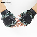 LongKeeper Semi finger Army Gloves Military Camo Tactical Gloves Gym Mittens for Men Workout Latex Guantes