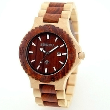 BEWELL Men's Wooden Watch Japan Movt Quartz Wood Analog Date Natural Wood Watch