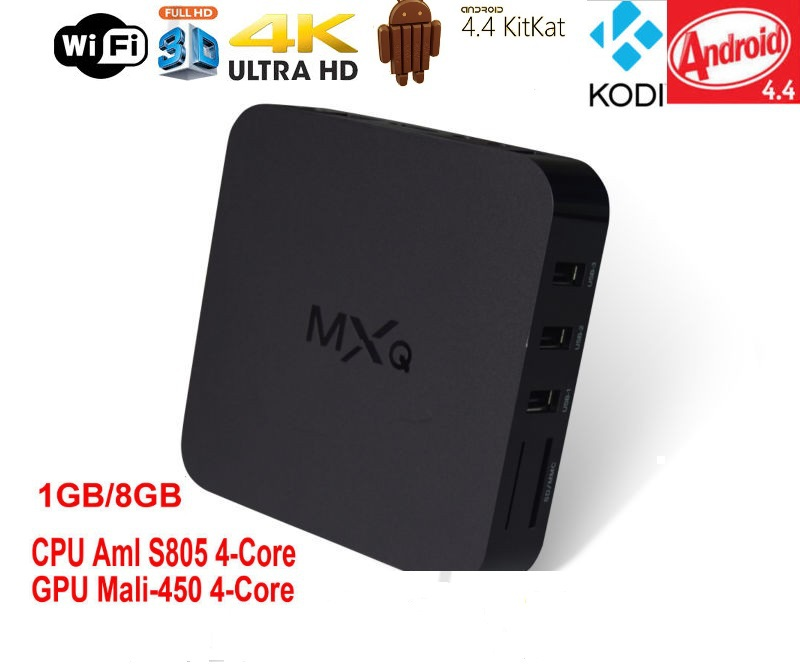10 pcs DHL free shipping MXQ TV box AmlogicS805 Quad-Core CortexA5 android 4.41GB/8GB internet tv set top box with channels(China (Mainland))