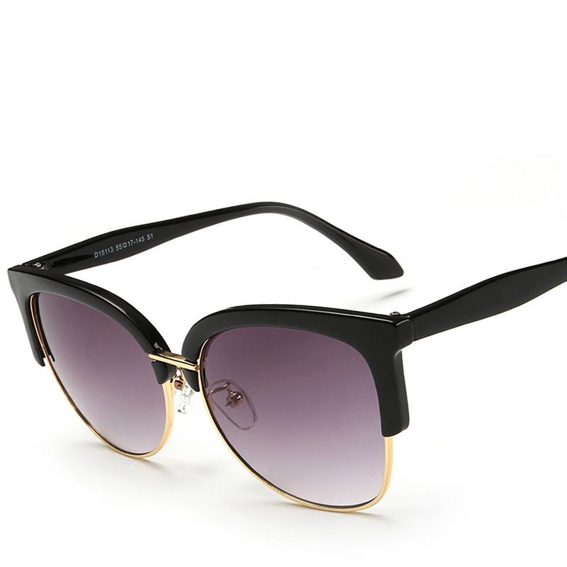 2016 Fashion New Sunglasses For Women Semi Circle Metal Frame Sun Glasses Women Coating Glass(China (Mainland))