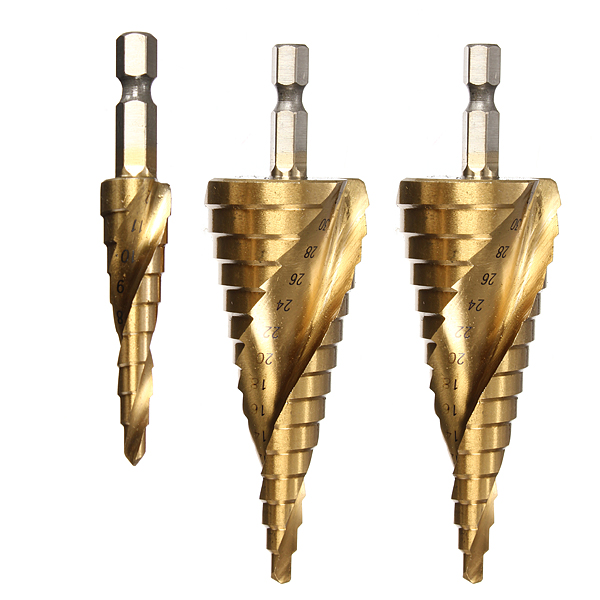 High Quality 3pcs HSS Spiral Grooved Step Drill Drills Bit 4mm to 12mm/20mm/32mm Cut Tool Set(China (Mainland))