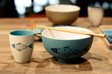 Japanese Style Painted Ceramic Cup Creative Coffee Cup Simple Fish Pattern Mugs Fashion Healthy Small Water
