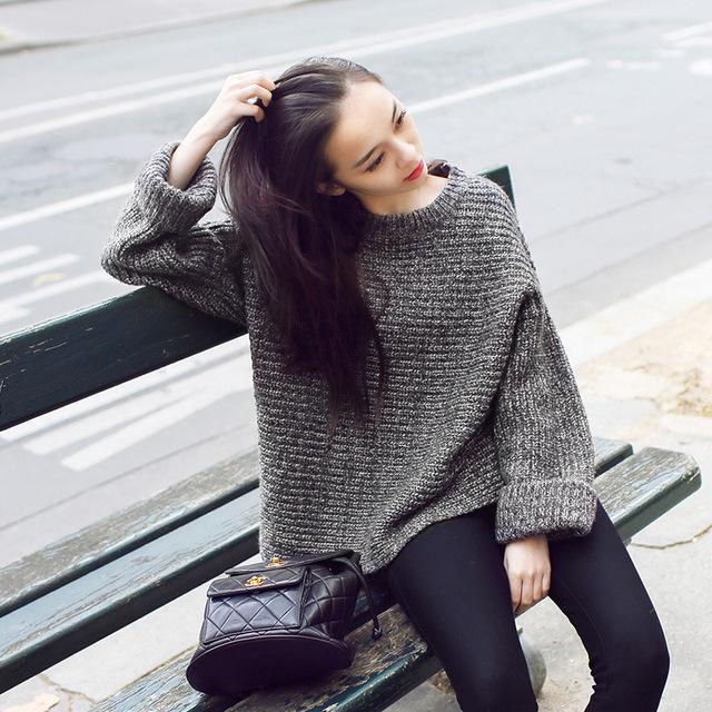 Женщины свитера 2015 зимние пуловеры новый бренд свободного покроя широкий стильный ...