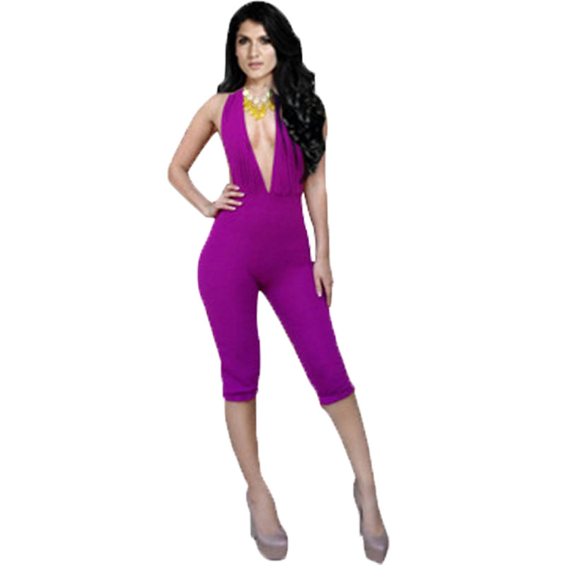 Rompers Women Jumpsuit Sexy Jumpsuits Club Solid Backless Deep V-neck Casual Capris KM021 - Clothing Boutiques store