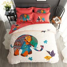 ROMORUS Hot Elephant Cartoon Bedding Set 4 pcs Queen King Size 100% Cotton Plaid Flowers Duvet Cover Set Sanding Bed Linen Sets(China (Mainland))
