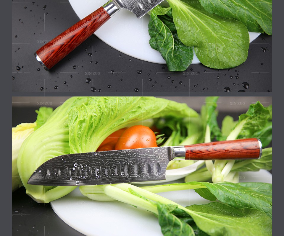 "Buy NEW 7"" inch Japanese chef knfie 73 layers VG10 Damascus steel kitchen knives chef santoku knife forge wood handle free shipping cheap"