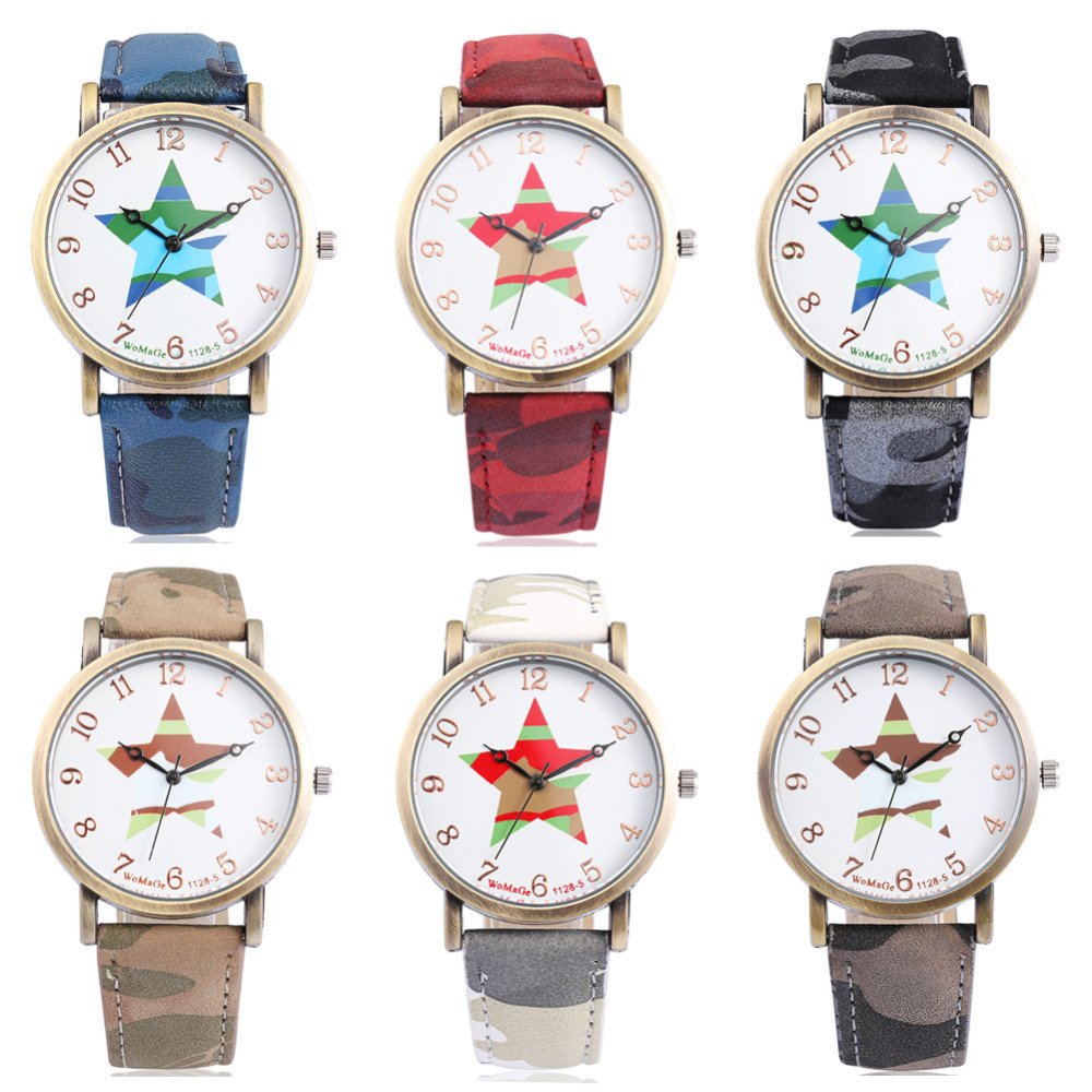 2015 HOT Selling NEW Fashion Women s Ladies Quartz Watch Five Star Shape PU Strap Round
