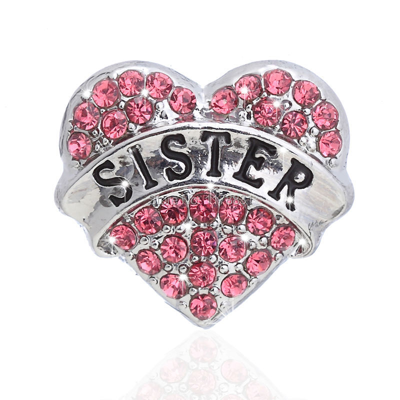 Letter Sister Brooches Jewelry Retro Sliver Crystal Heart Pendant  for Brooch Pins Friendship Gift Sweater Collar Accessories