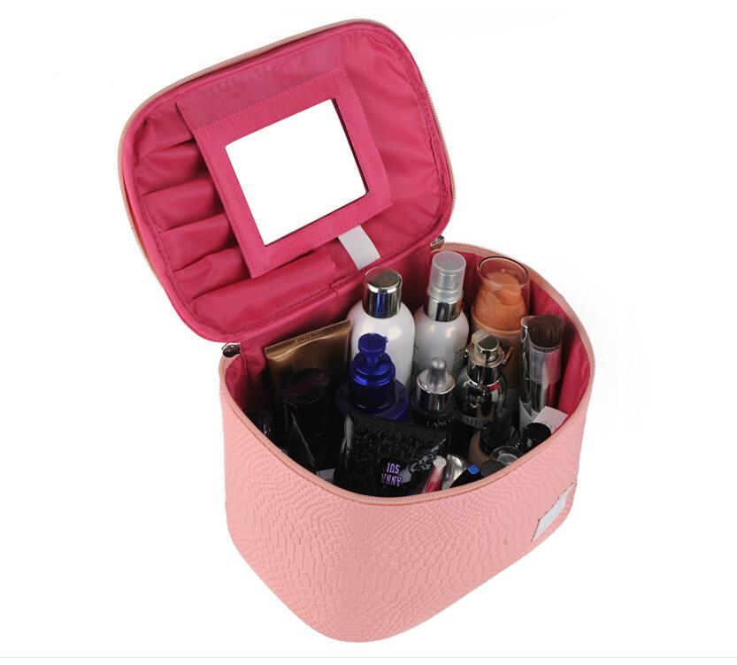 New Travel Cosmetic Bag Cases Make Up Estojo Maleta De Maquiagem Suitcase For Cosmetics Makeup Organizer Organizador Necessaries(China (Mainland))