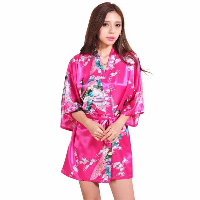 Ярко розовый китайский женский шелковый район одеяние платье сексуальное миниое кимоно ...
