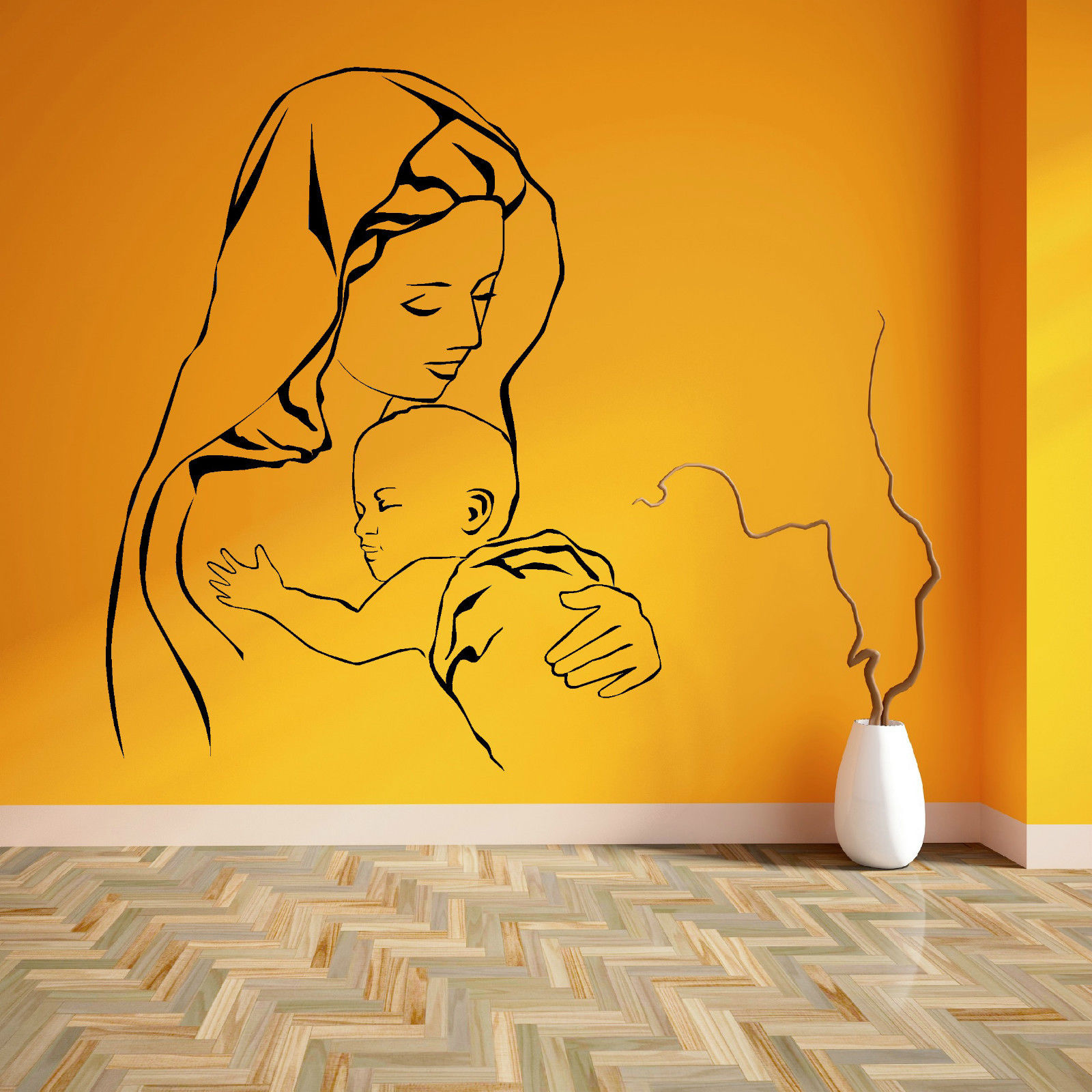 VIRGIN MARY AND JESUS MOTHER BABY MADONNA CHILD Vinyl wall art sticker decal free shipping(China (Mainland))