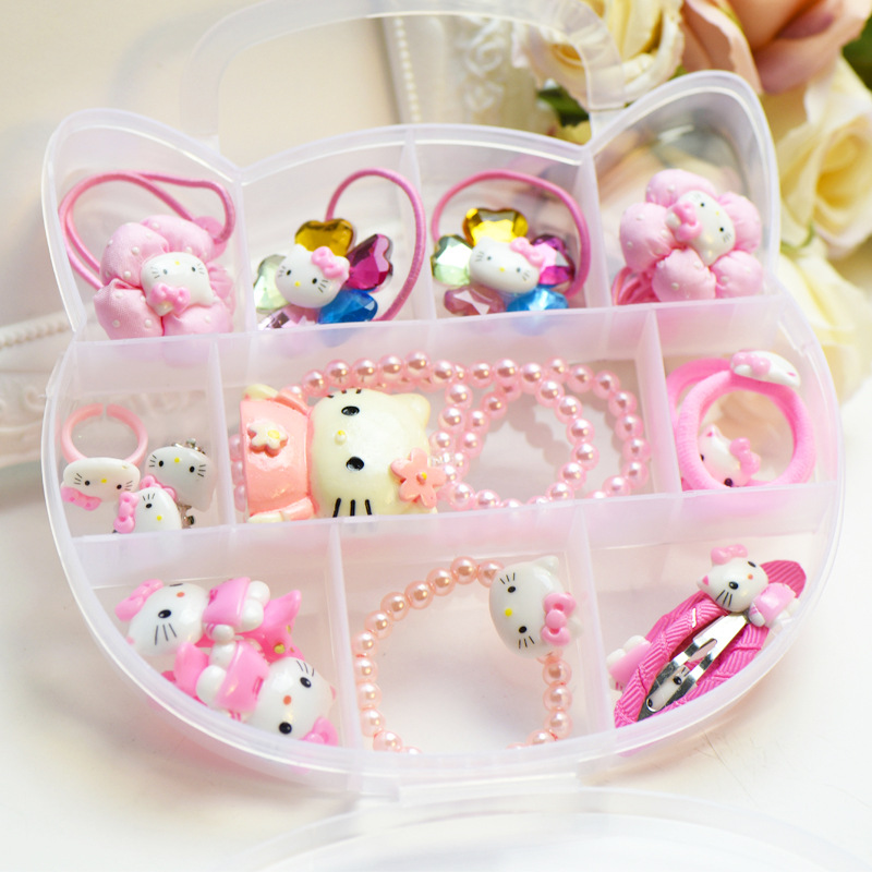 Fashion Children Headwear Korean Hello Kitty Hair Clips Gum Elastic Bands Hair Accessories Barrettes Scrunchies For Cute Baby(China (Mainland))