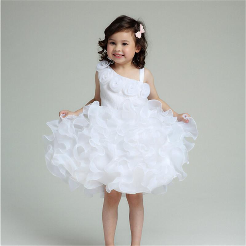 2017 Latest White Flower Girl Dress Brand Fomral Elegant Princess Bow Decorative Girls Ball Gown Wedding Party AKF164043 - AZEL store
