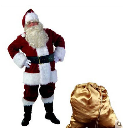 Cheap Red Blue Christmas Costumes Santa Claus For Adults(China (Mainland))