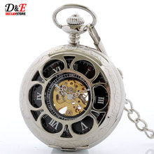 Antique Mechanical Skeleton Steampunk Vintage Silver Mens Pocket Watch Chain New