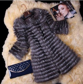 Горячая распродажа новая коллекция весна женщины натуральная чернобурки шубы куртки из натурального меха жилетки женские меховые мода полосатый стиль BF-C0006