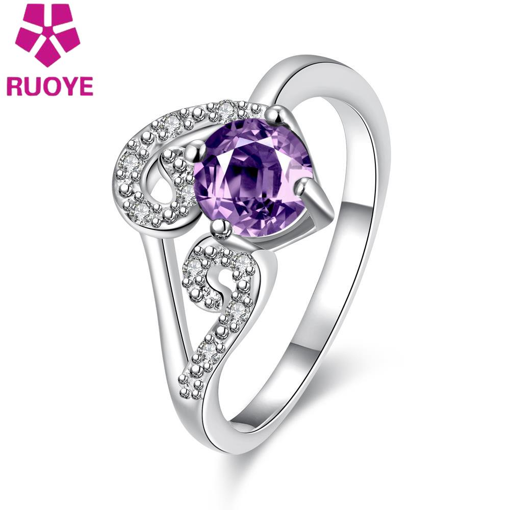 New Fashion Purple Blue Red White Heart Crystal Ring For Women Silver Plated Zircon Ring Prom Party Jewelry Accessories(China (Mainland))
