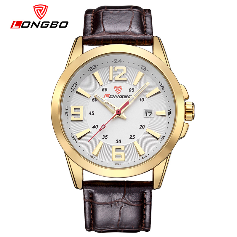 LONGBO Male Golden clock Mens Watches Top Brand Luxury Quartz Wristwatches Relogio Masculino leather watchbands Digital watches(China (Mainland))