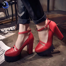 2016 new spring womens casual high heels shoes sexy thick heels platform / europe womens shoes,female pumps Dropshipping(China (Mainland))