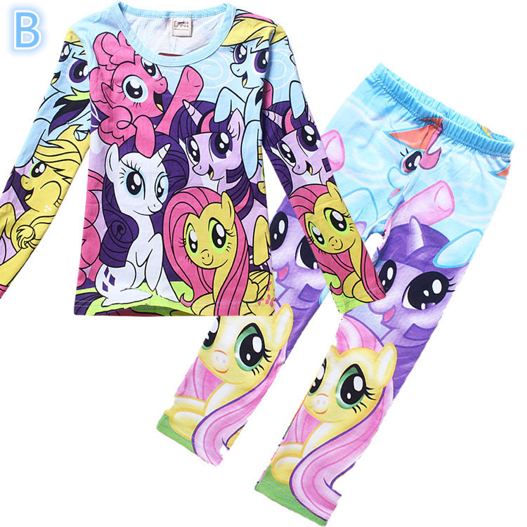 My little pony clothes girls clothing sets suits  kids pajamas children  2 piece sleepwear home fashion 3~8 year