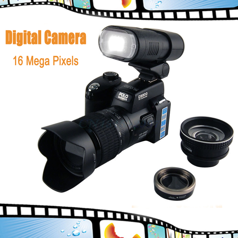 D3200 Digital camera 16 million pixel 5.0MP CMOS HD Video camcorder for photography Telephoto + Wide Angel Lens+LED Spotlight(China (Mainland))