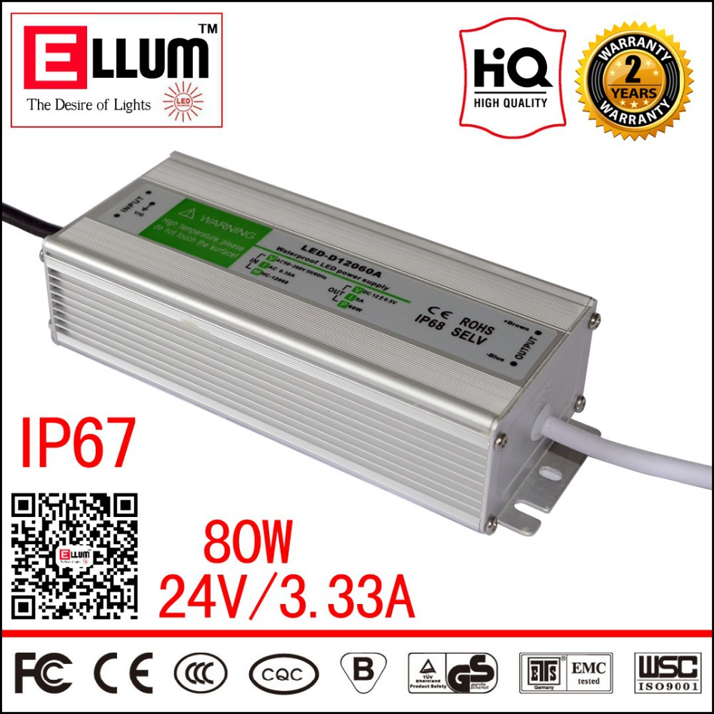 IP67 Waterproof LED Driver Transformer CE ROHS Approval Switching Power Supply 24V 3A 80W Outdoor Use<br><br>Aliexpress