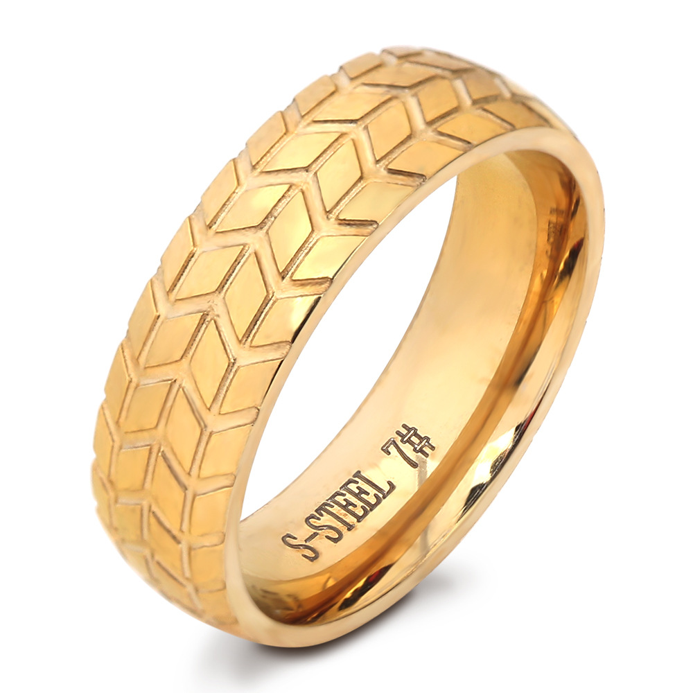 Martick New Arrival Gold Color Rings Europe Brand Tires Shape Wedding Jewelry For Man Present R124(China (Mainland))