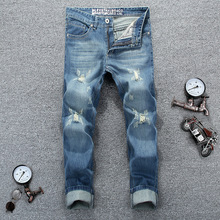 New Famous Brand Biker Jeans Vintage Men designer Casual Hole Ripped Jeans Mens Fashion Denim Pants Slim Fit Men PP jogger jeans