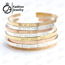2016 Trend Stainless Steel Silver She believed she could so she did Cuff Mantra Bracelet Bangle for women ONLY SILVER AVAILABLE(China (Mainland))