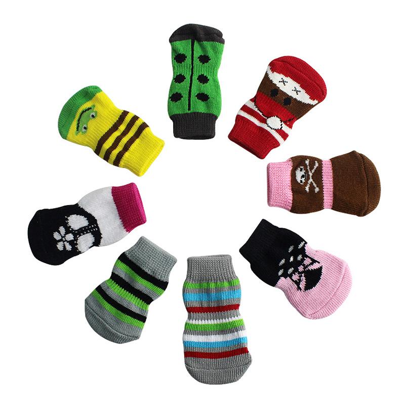 Hot Sale 2016 Fashion 4Pcs/Set Cute Puppy Dogs Pet Knits Socks Anti Slip Skid Bottom Socks for Dogs Pet Socks(China (Mainland))