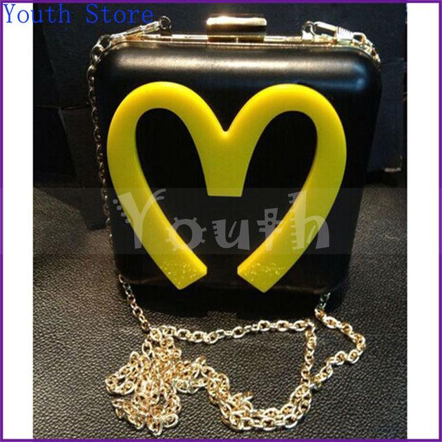 Макдональд акрил вечернее мешок полиуретан поверхности пластиковый мешок надписи m день сцепление mini сумочка с цепь - A006