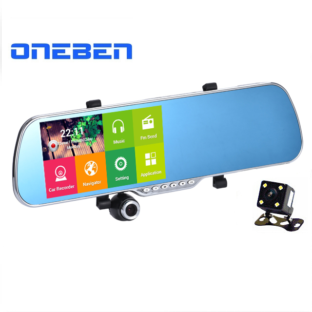 """5.0"""" IPS Touch Android 4.4 FHD1080P Dash Camera Parking Car Dvrs Rearview Mirror Video Recorder Car DVR Dual Camera GPS+Free map(China (Mainland))"""