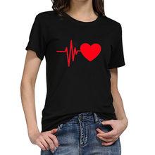 אופנה 2019 T חולצה נשים Loose קצר שרוולים יפה לב הדפסת קיץ חולצה מזדמן O-צוואר נקבה למעלה Camiseta Mujer # Y6(China)
