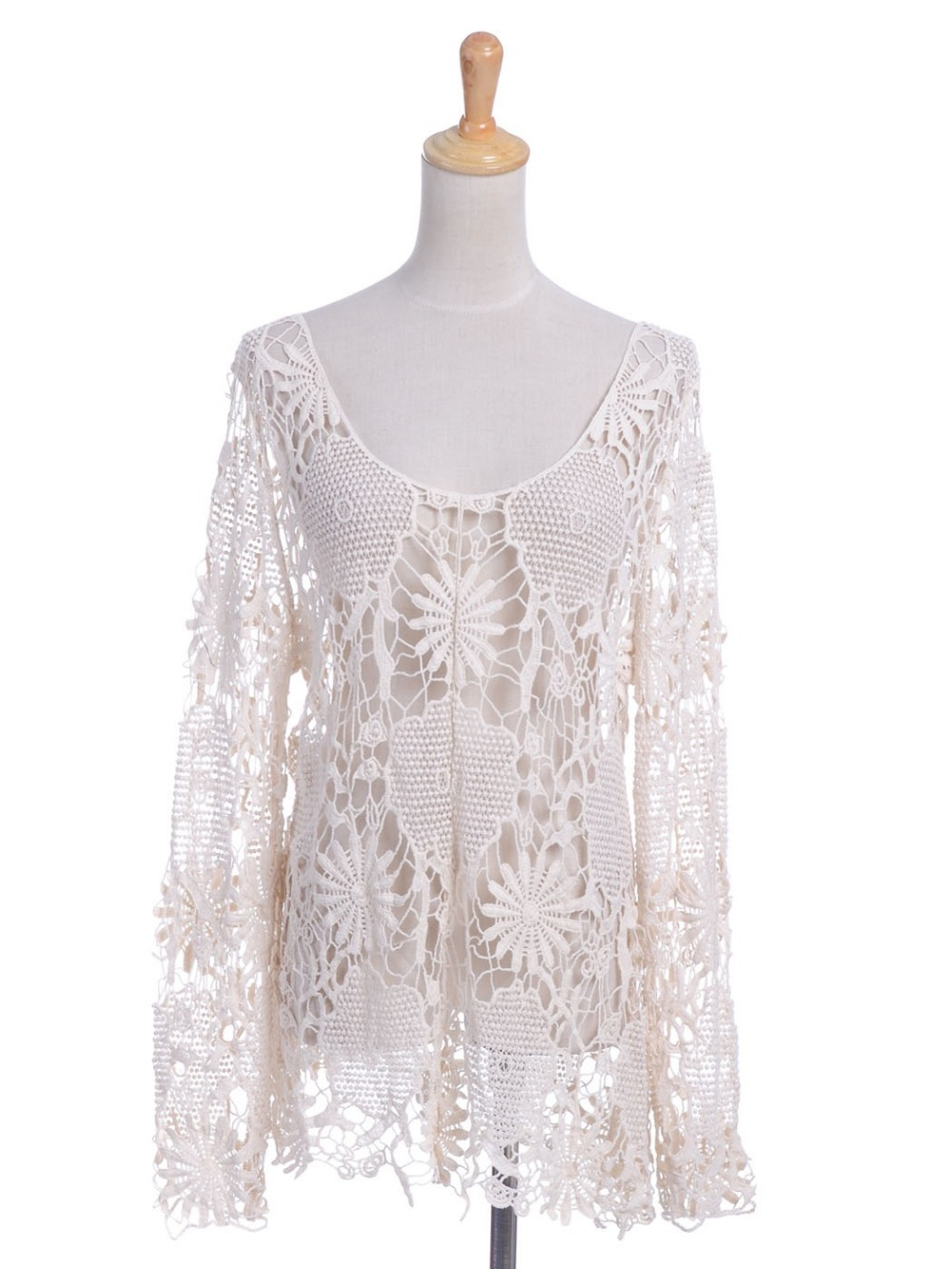 Beige Hippie Child Style Floral Crochet Lace Pattern Scoop Neck Hollow Out Blouse(China (Mainland))