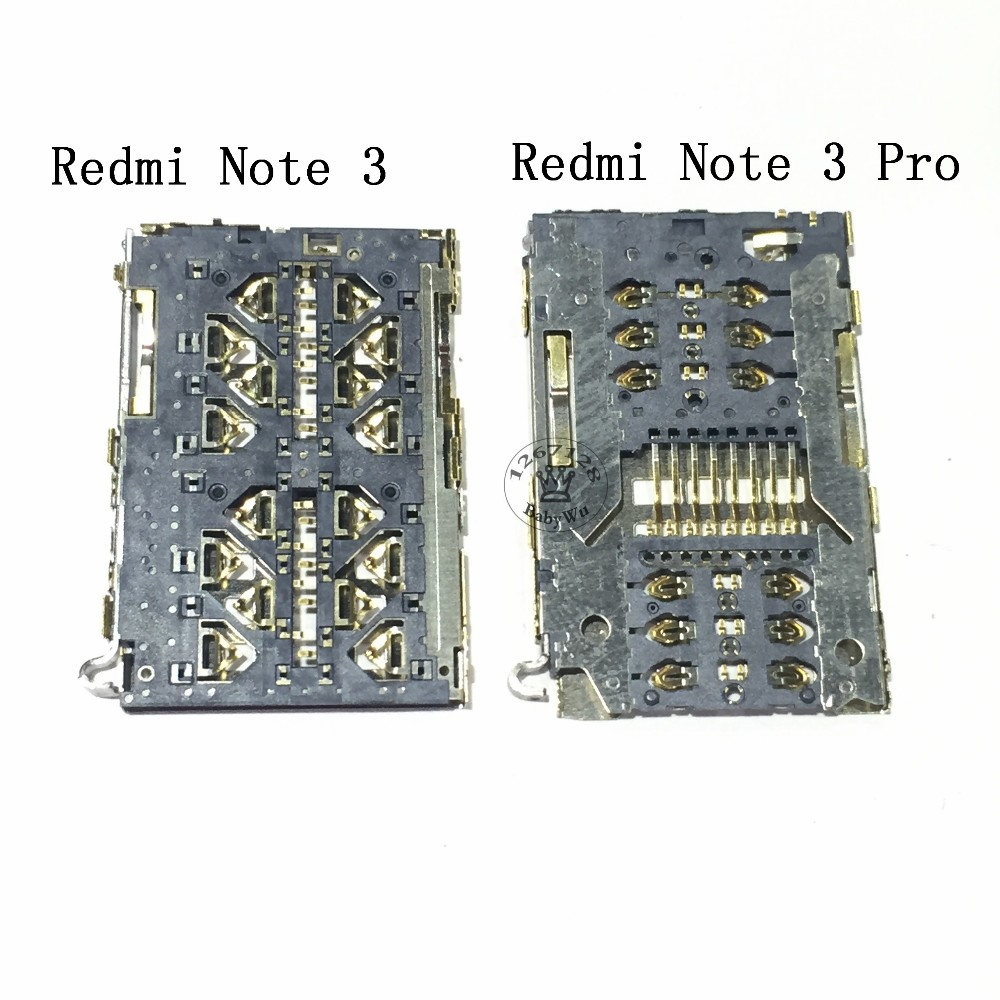 10PCS Replacement Parts New Sim Card Reader Holder Tray Reader Socket for xiaomi Redmi Note 3/ Redmi Note 3 Pro