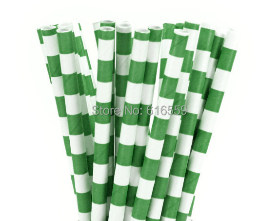 Free Shipping 100pcs Rugby Stripe Paper Straws Green,Paper Drinking Straws For Wedding Party Birthday Decoration(China (Mainland))