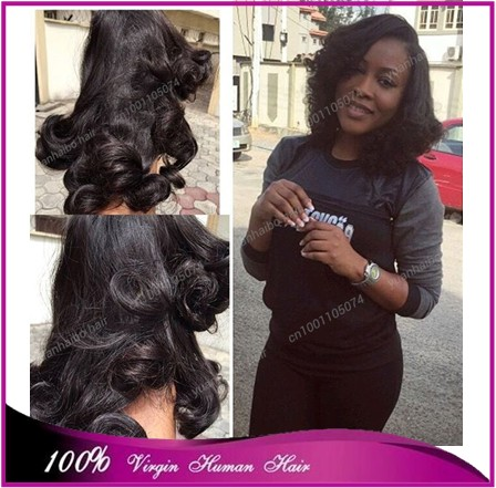Stock 8A top quality 3pcs/lot 1b# affordable price russian tip bounce curl pure funmi hair for black women free shipping<br><br>Aliexpress